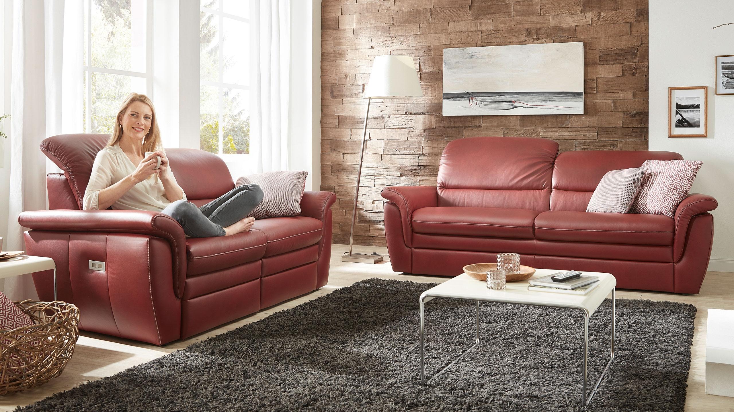 Cava Sofa Leder Rot