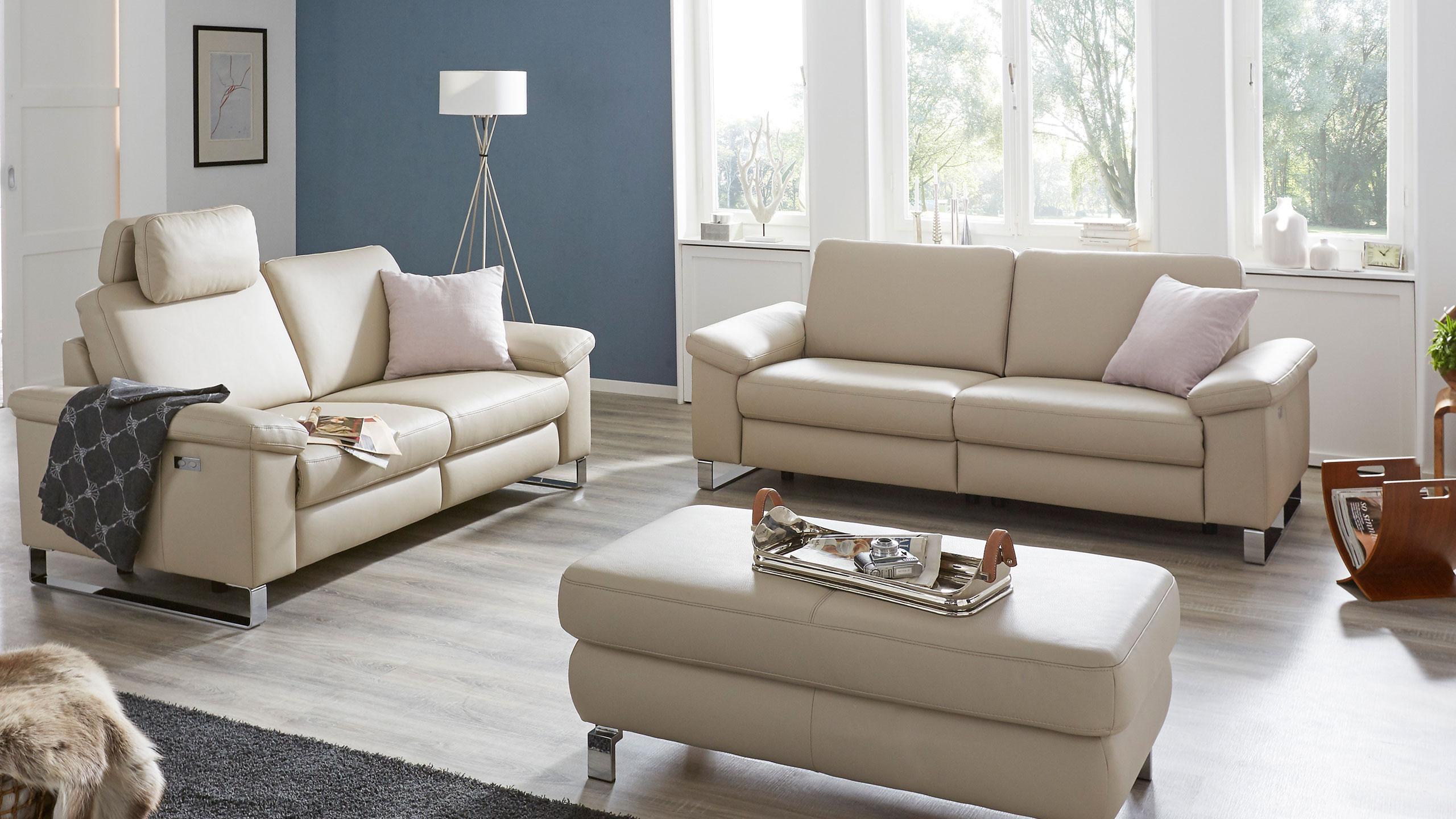 Casco Sofa Garnitur Leder Beige