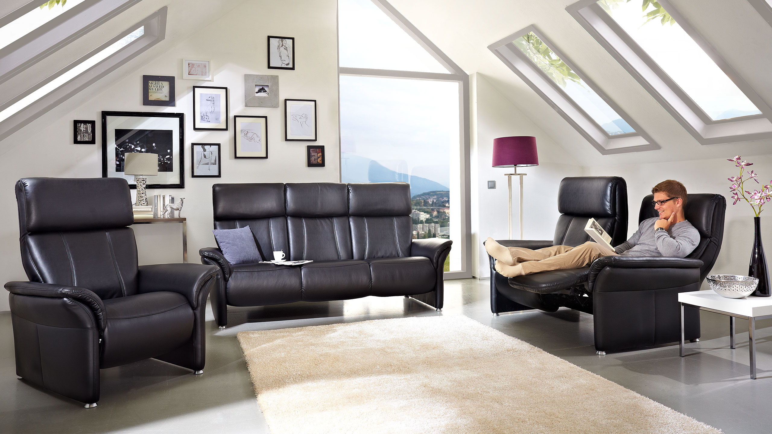 Magic Comfort Sofa 209 cm Kunstleder Schwarz