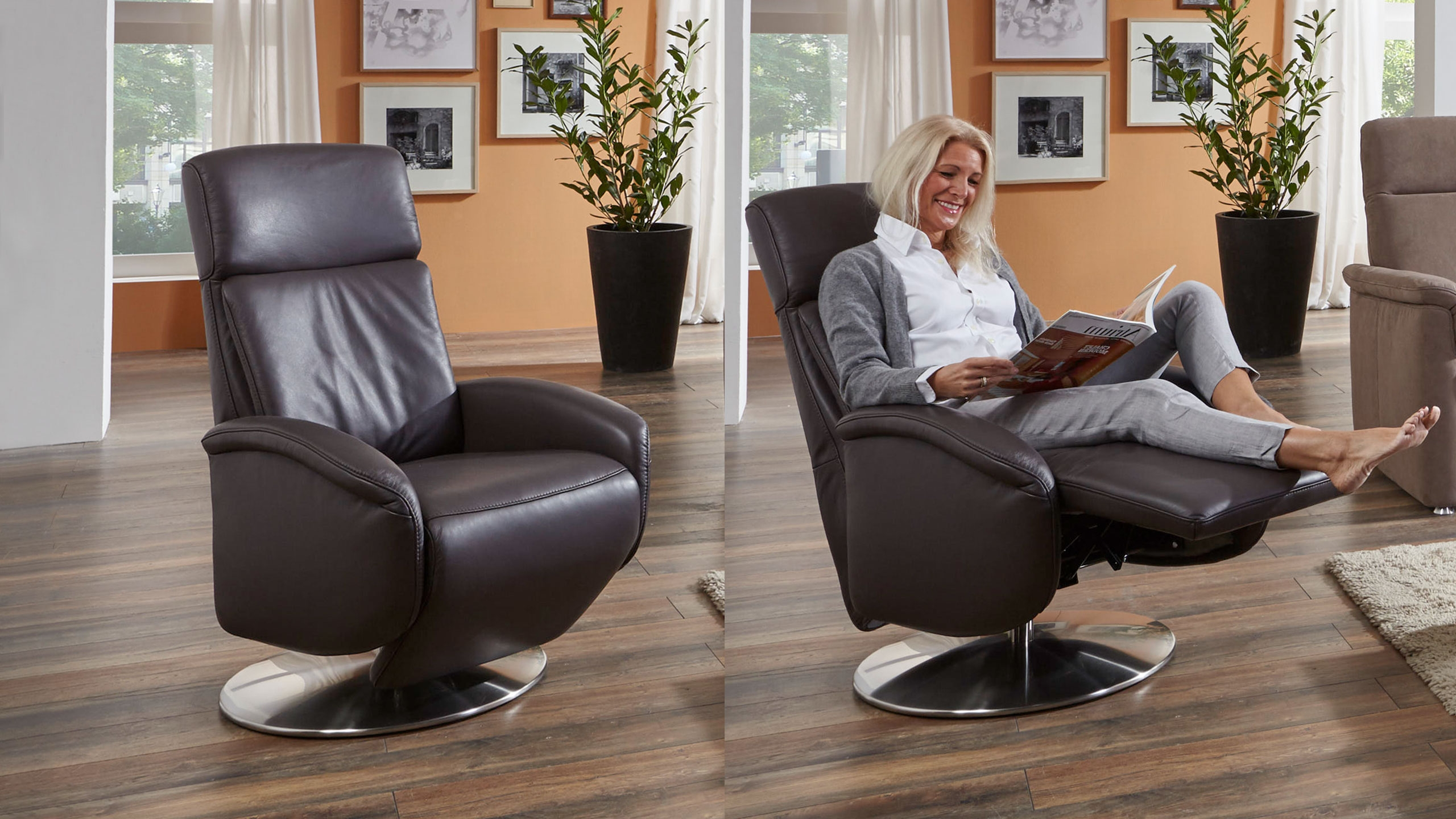 Allessio Style Sessel Leder Braun