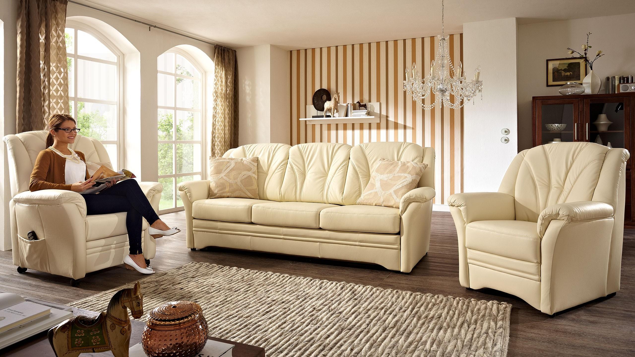 Berlin Sofa Leder Beige
