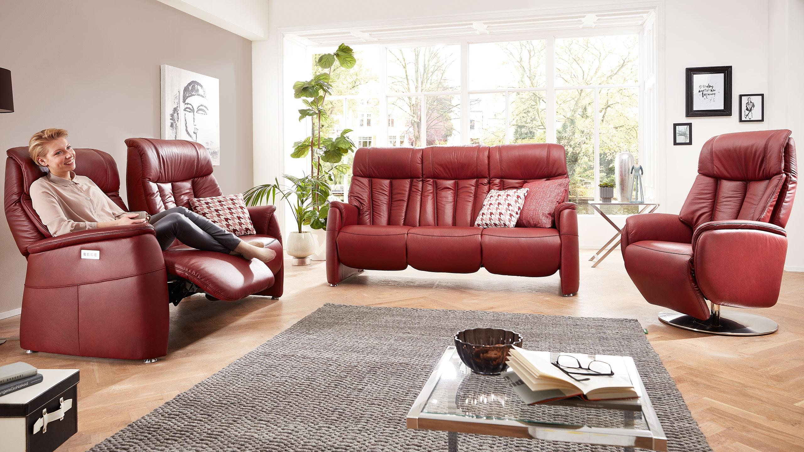 Triton Sofa Garnitur Leder Rot