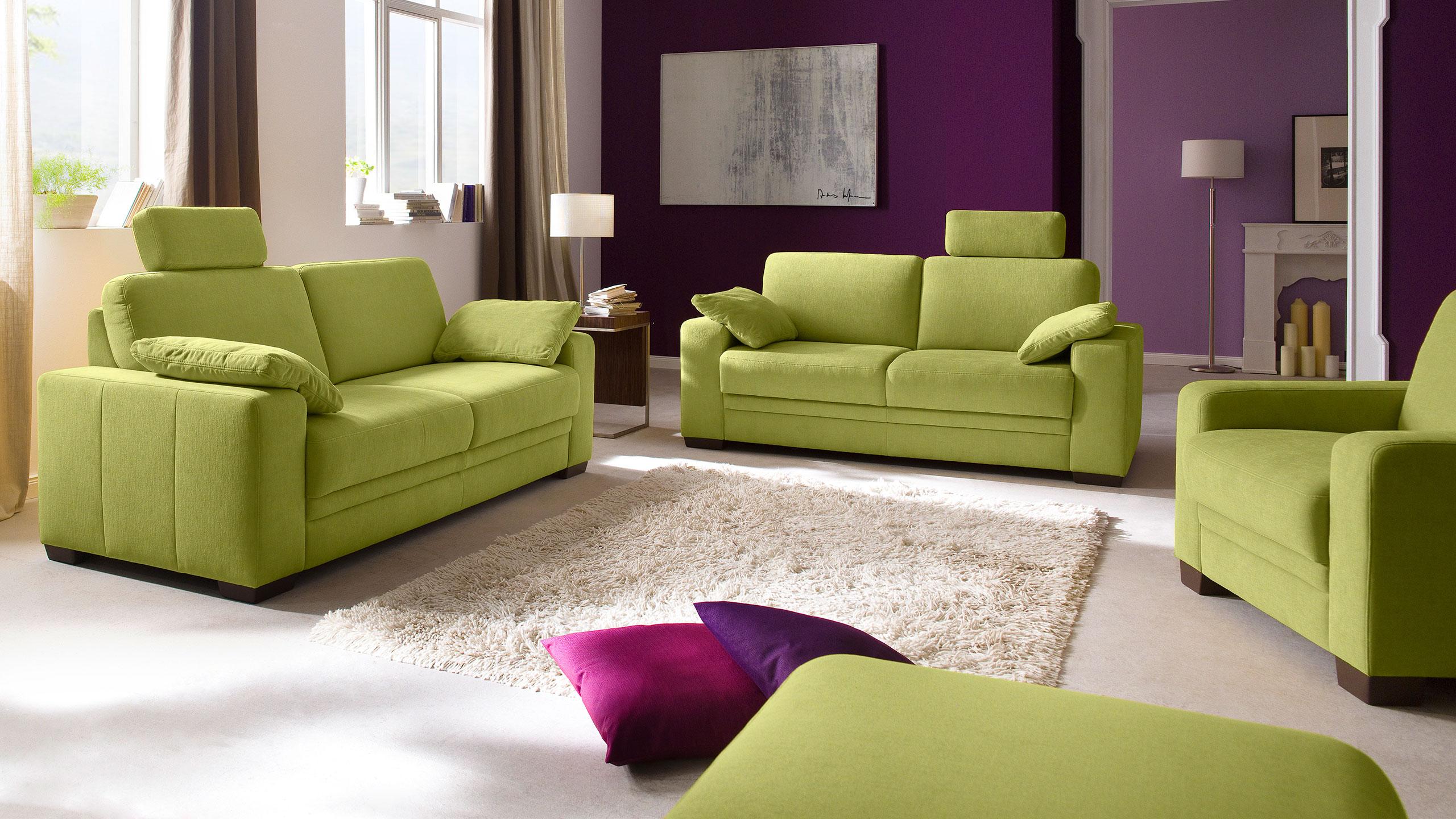 Sanne Sofa Garnitur Stoff Grün