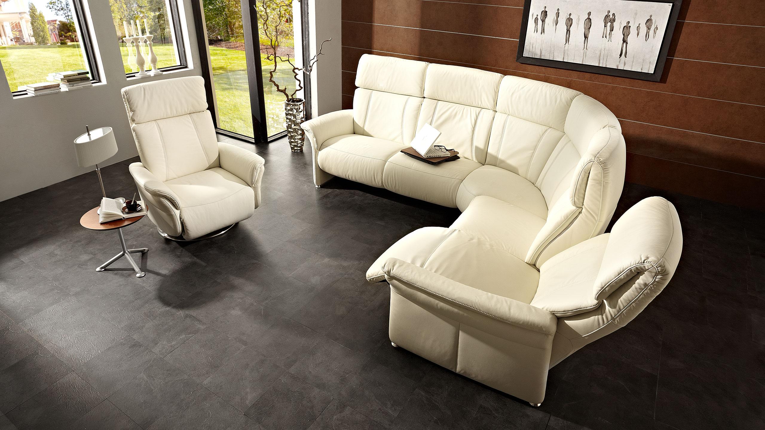Magic Comfort Sessel 84 cm Leder Weiss