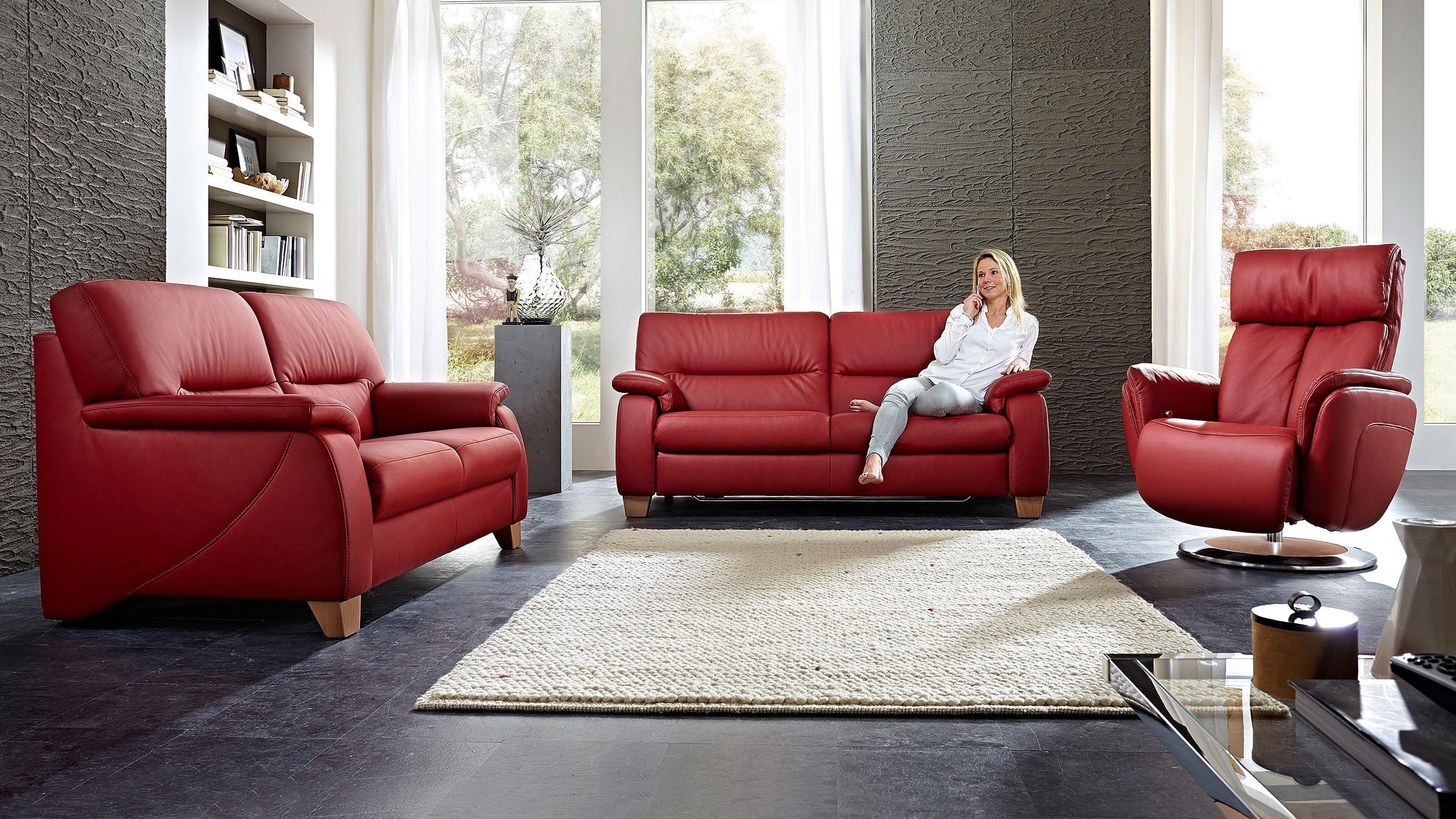 Korsika Sofa Garnitur Leder Rot