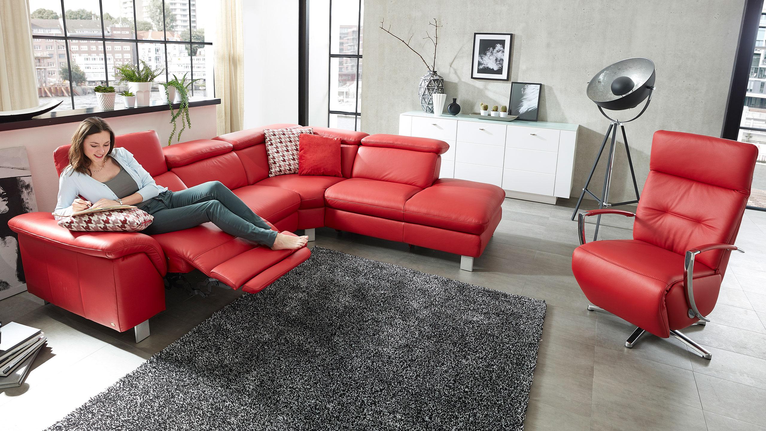 Trentino Ecksofa Leder Rot