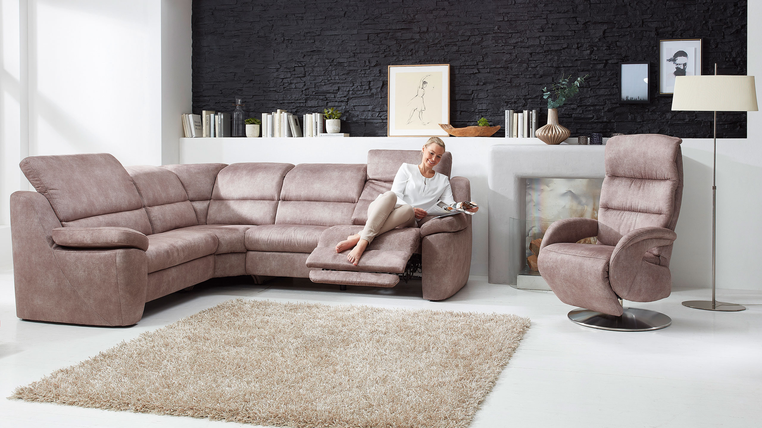 MultiMotion Ecksofa Stoff Braun