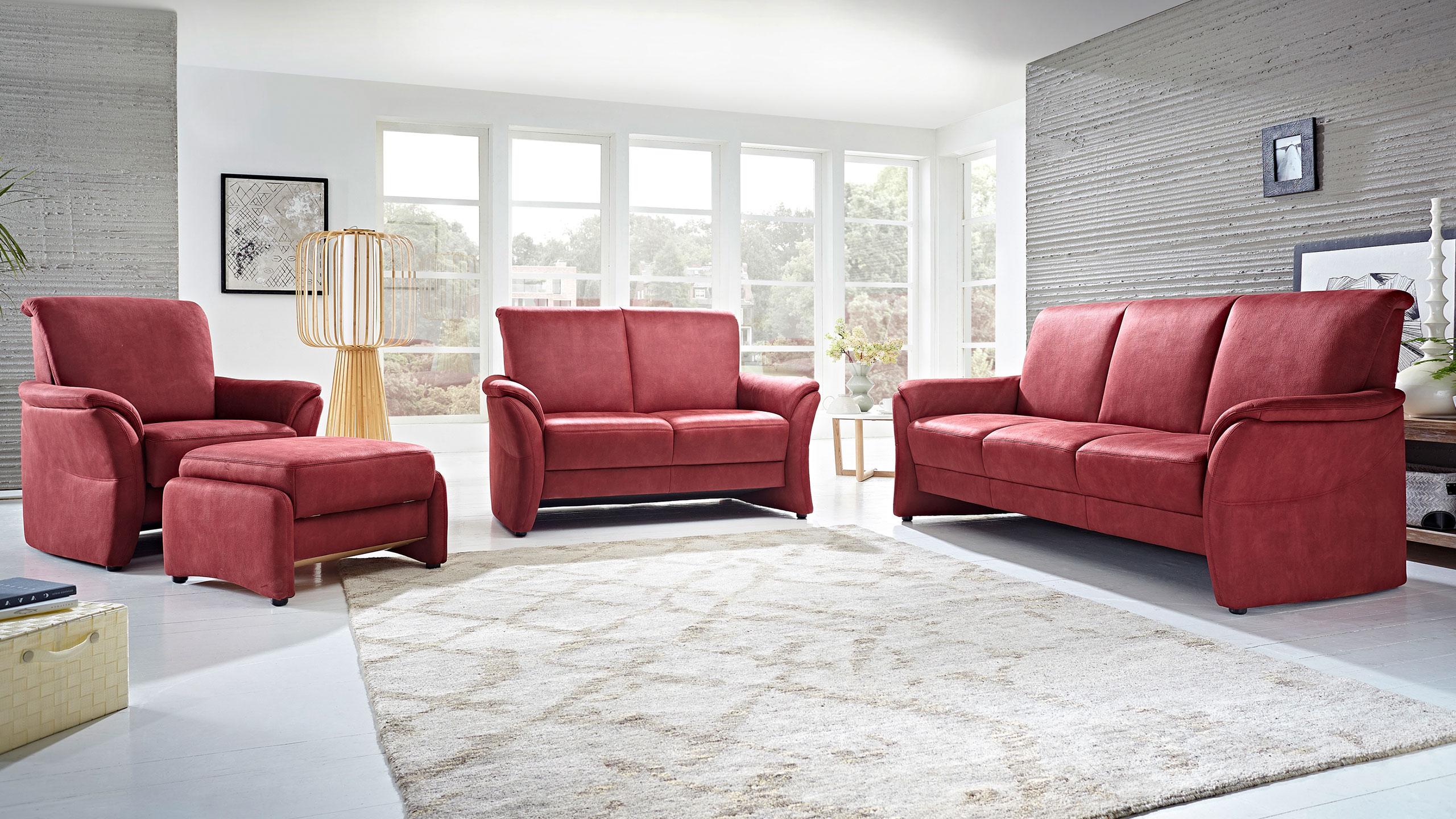 Volkach Sofa Garnitur Stoff Rot