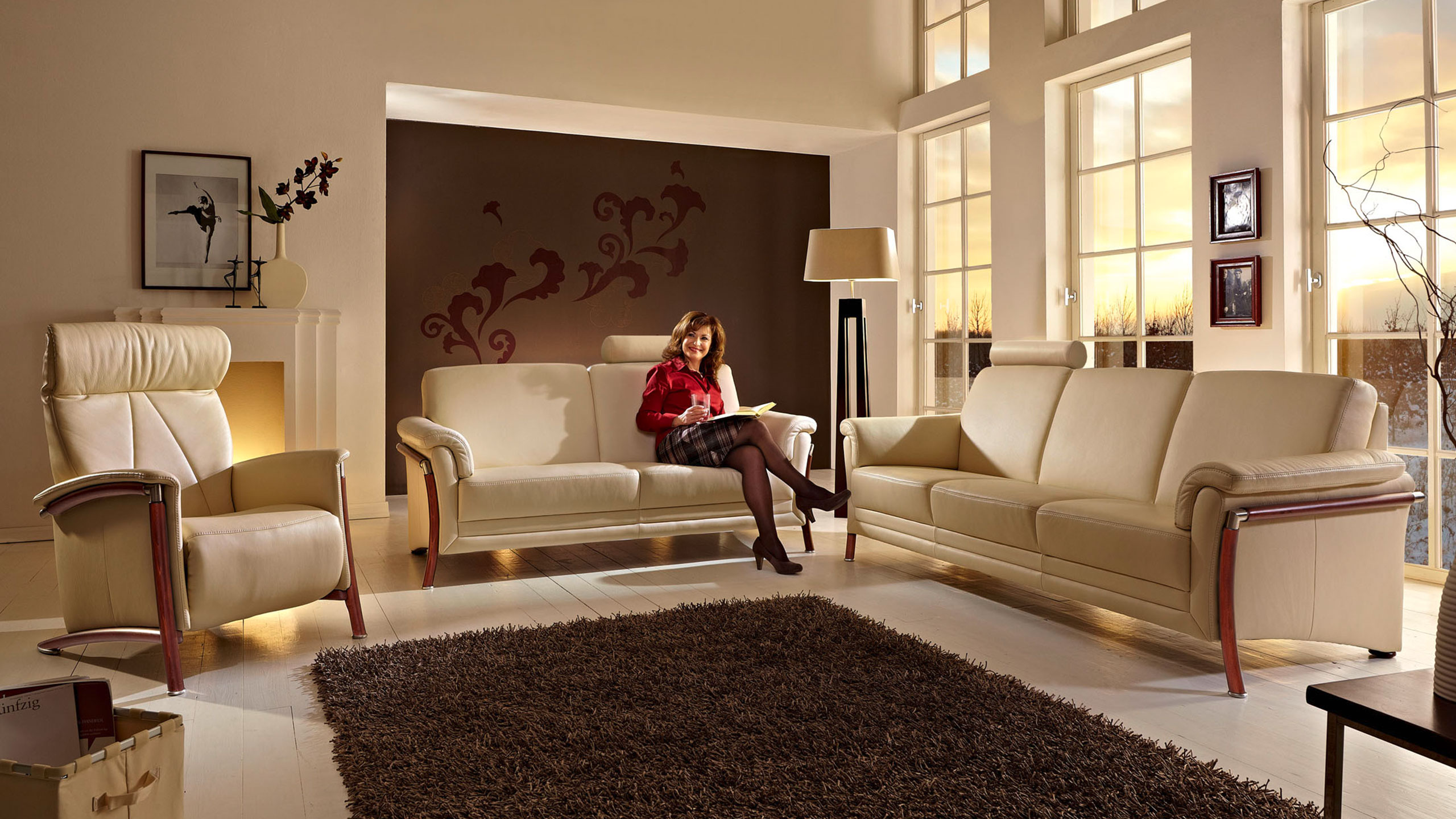 Roma Sofa Leder Beige