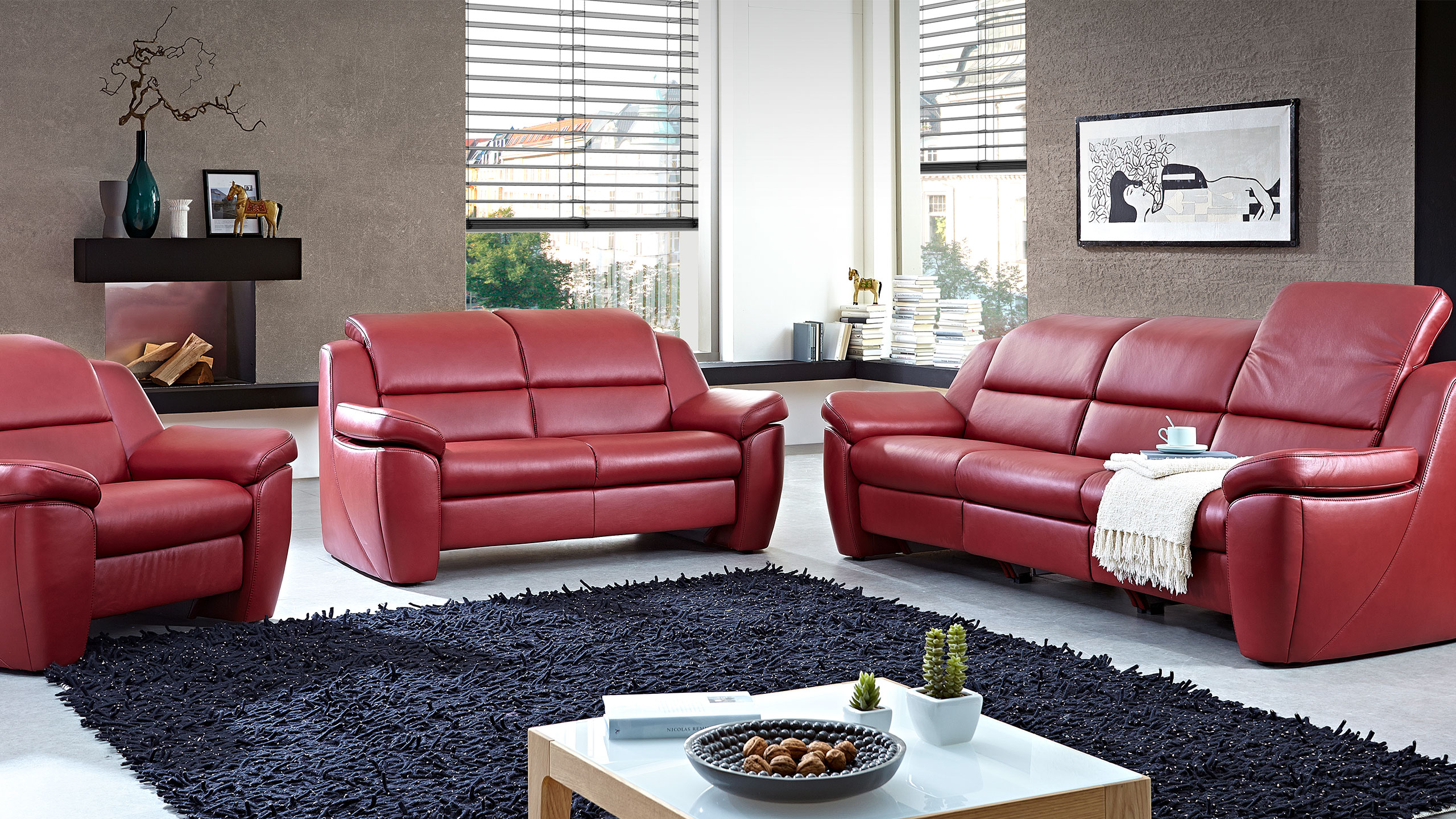 Multi Motion Sofa Leder Rot