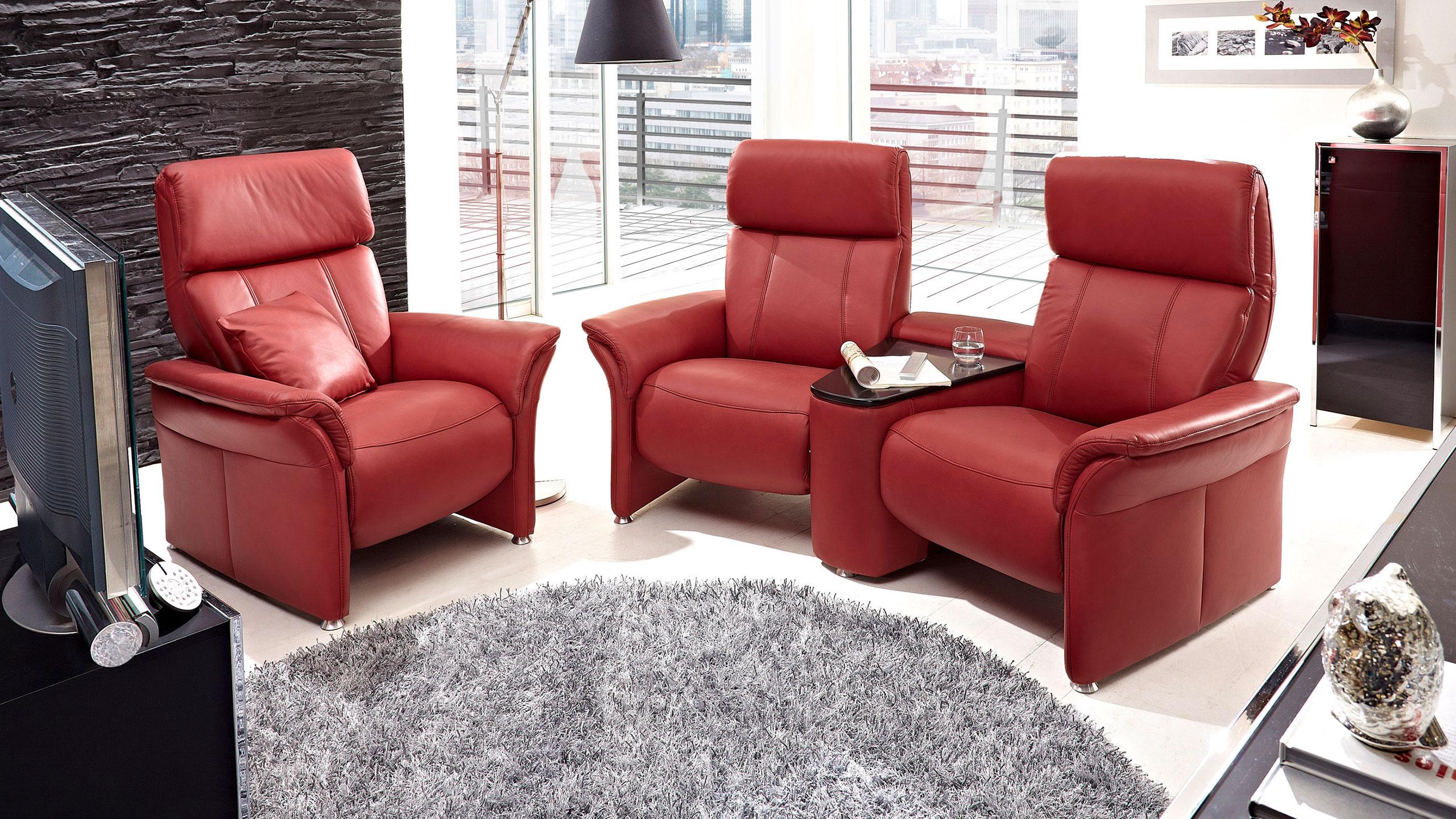 Magic Comfort Sessel 92 cm Leder Rot
