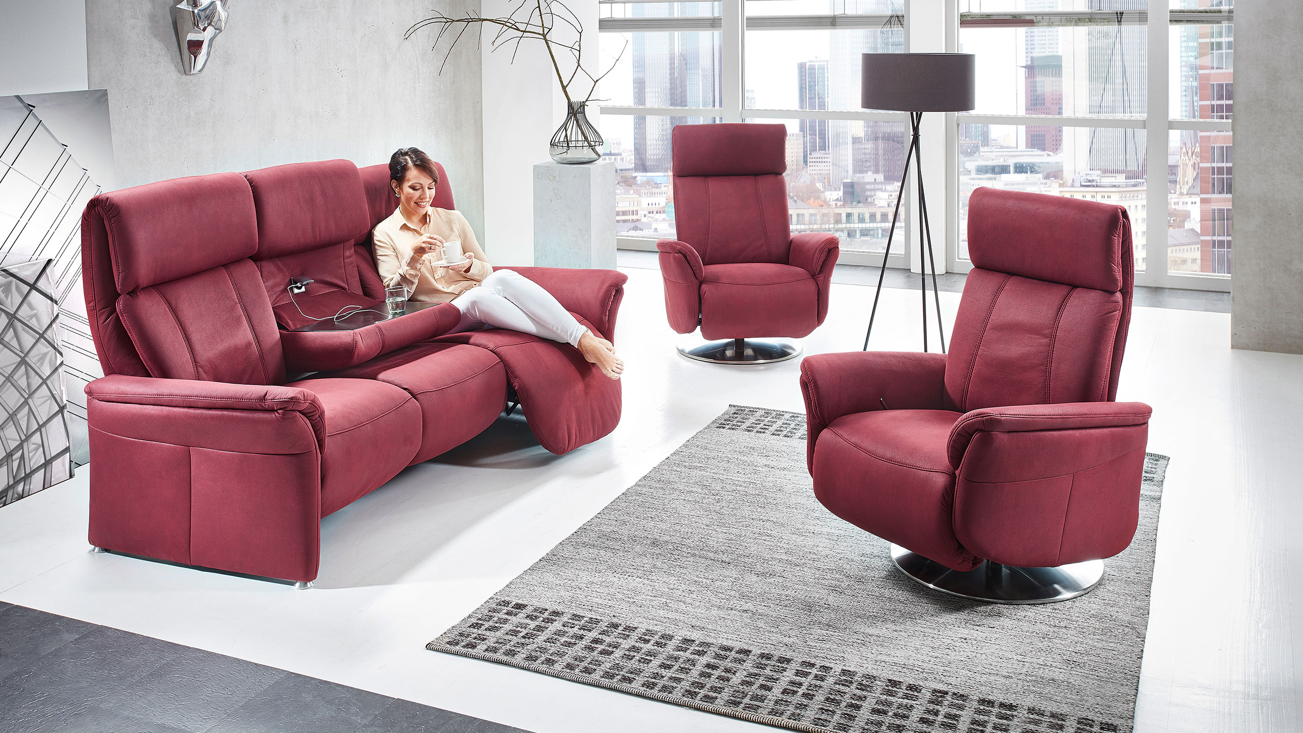 Magic Comfort Rundsofa Stoff Rot