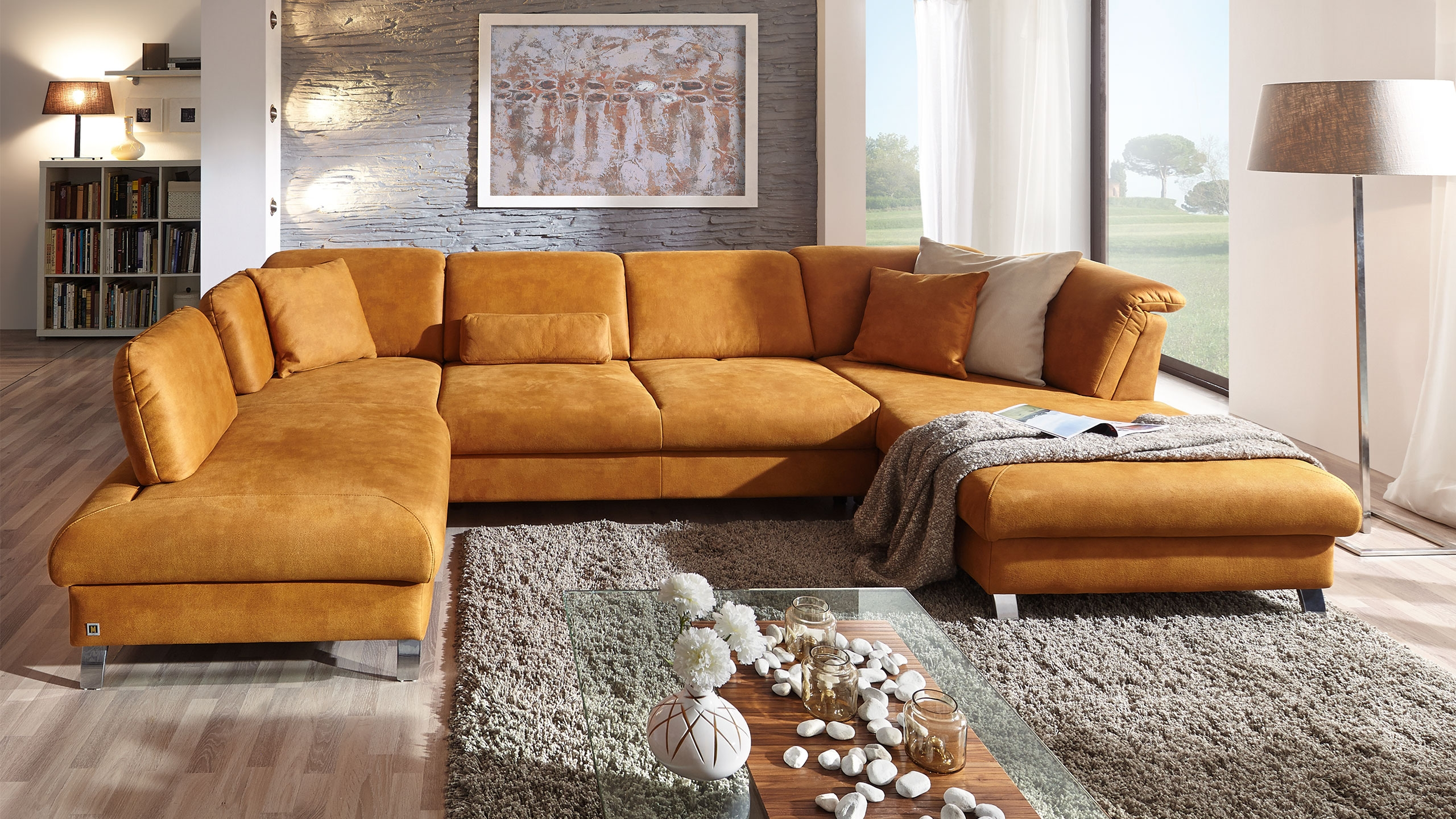 Single Wohnlandschaft Stoff Orange