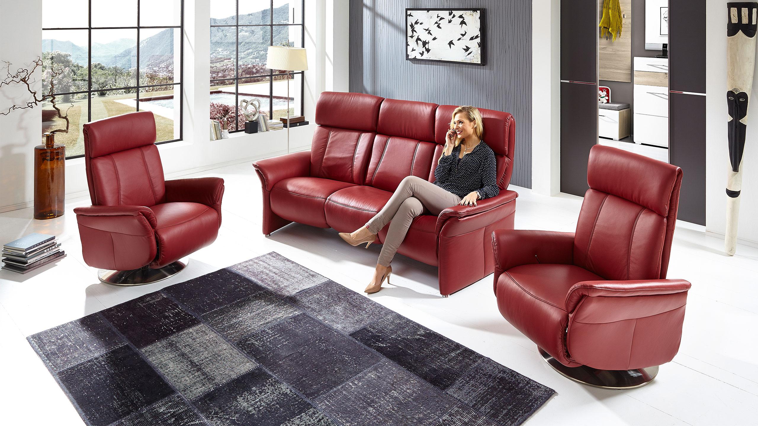 Magic Comfort Sessel 84 cm Leder Rot