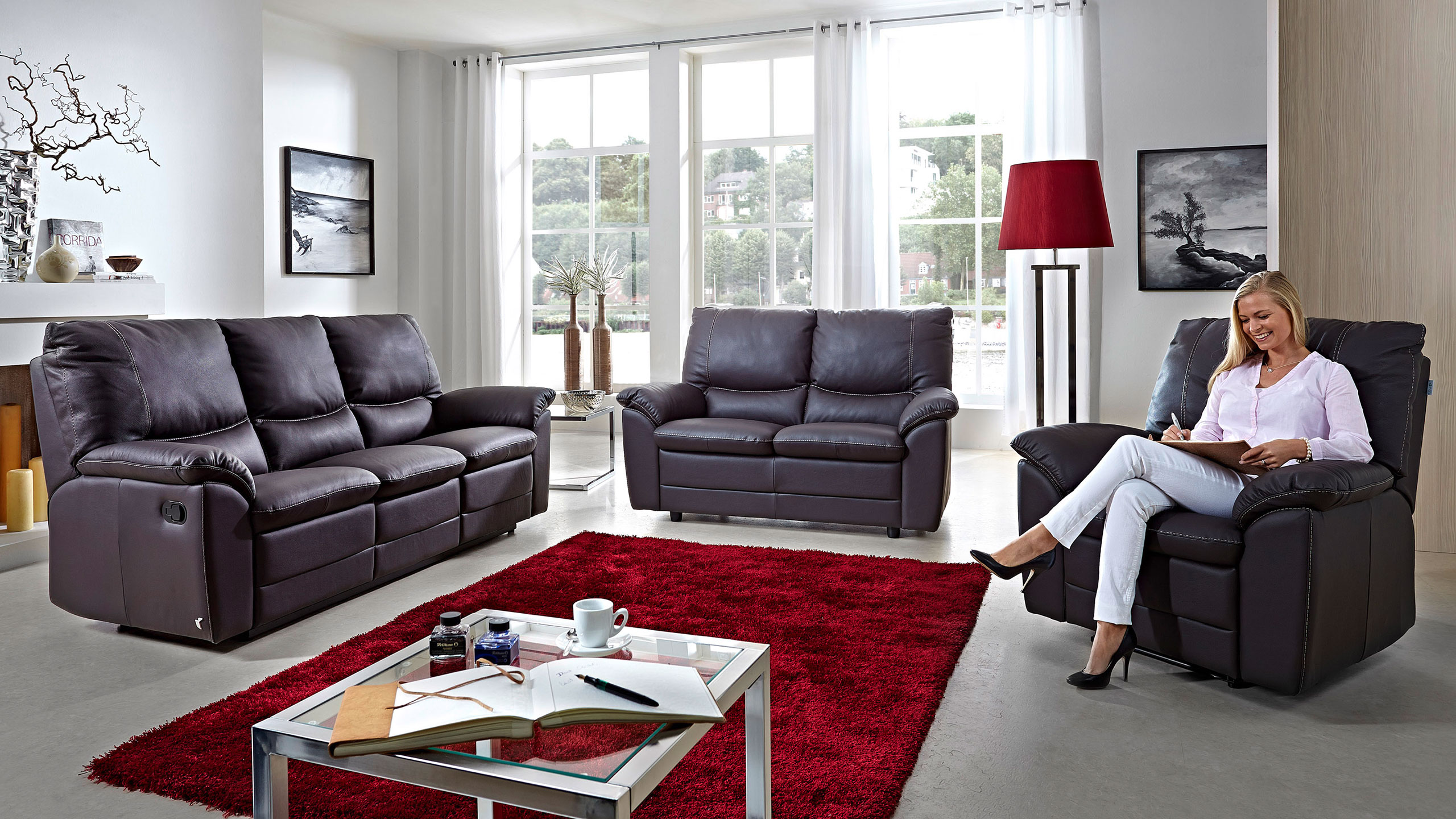 Marea Sofa Garnitur Leder Schwarz Sofa Garnituren Sortiment