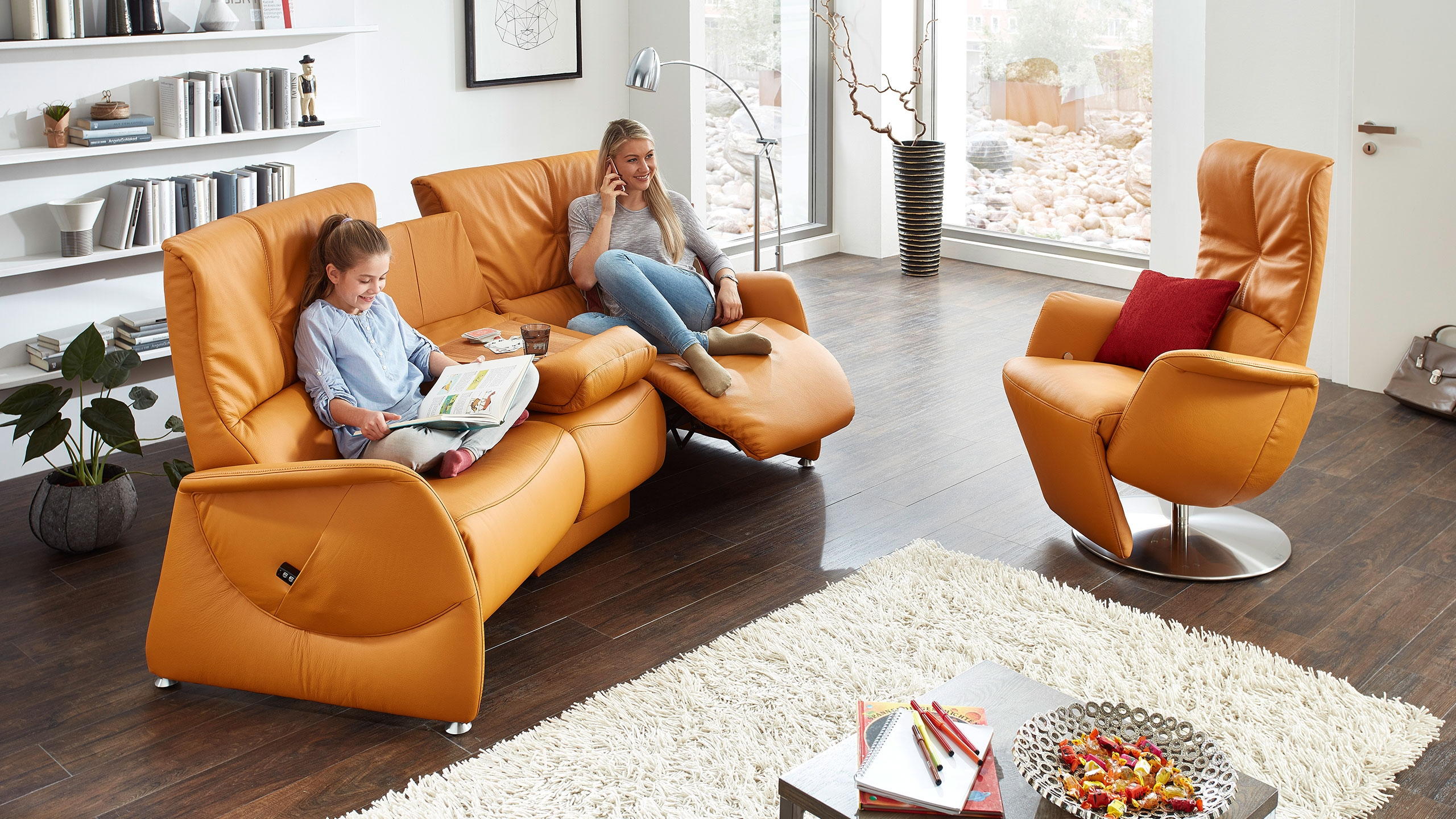 Pinto Sofa Leder Orange