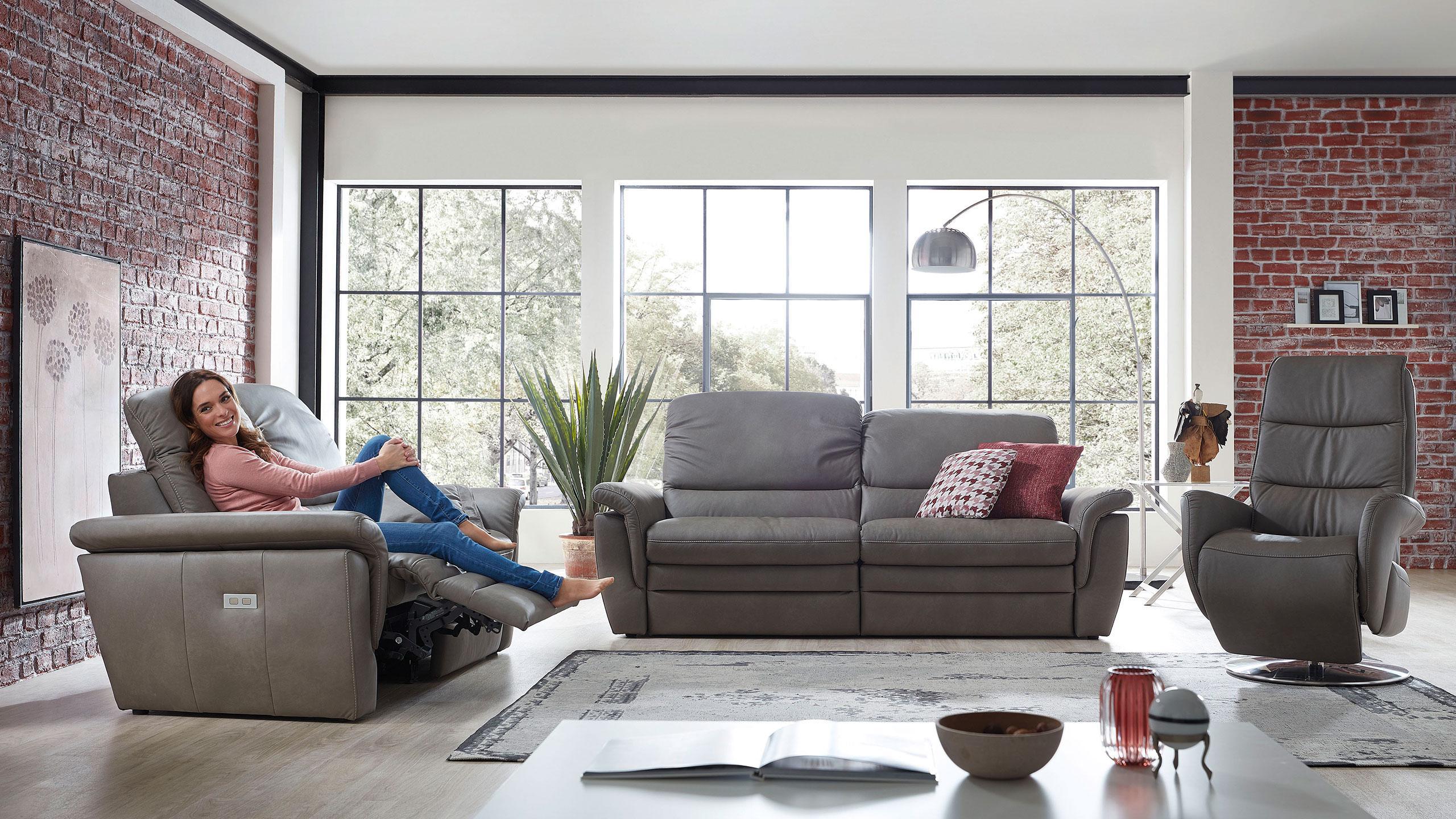 Cava Sofa Leder Grau
