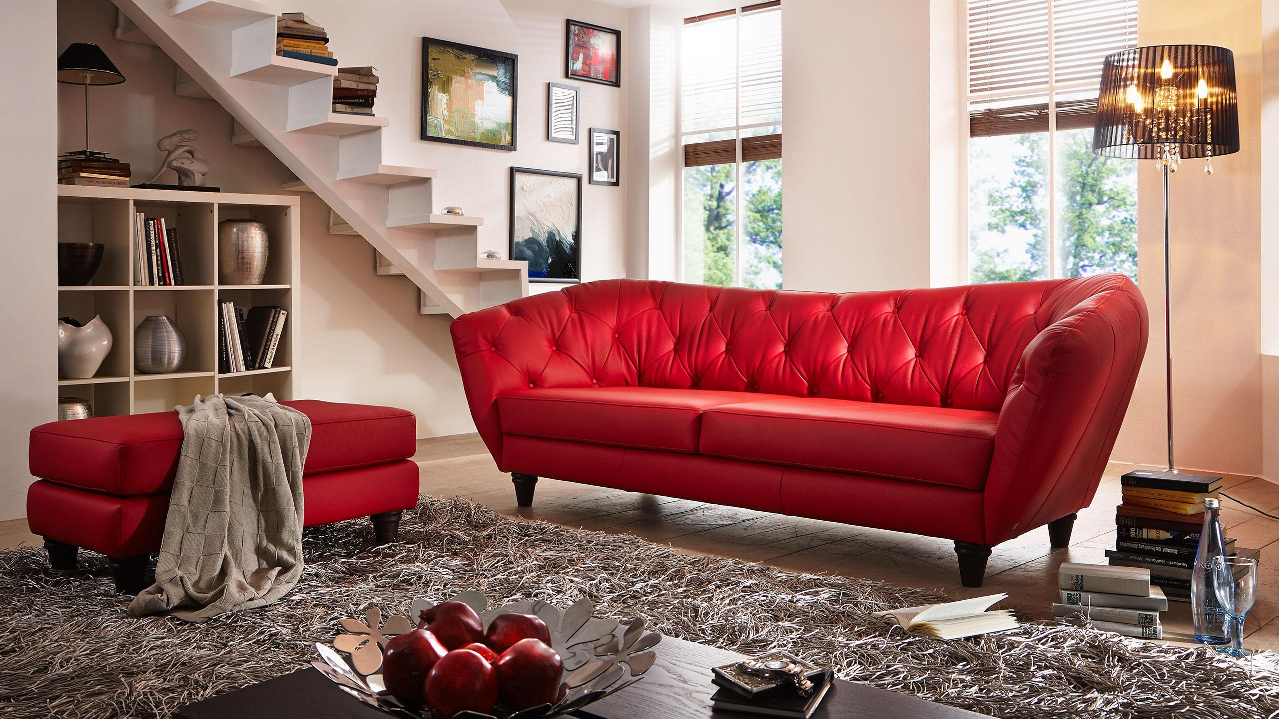 Wales Sofa Leder Rot