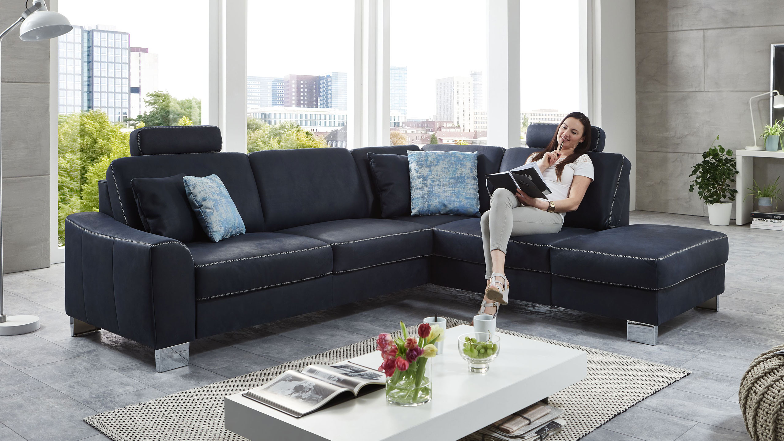 SC family/ select 1028 Ecksofa Blau