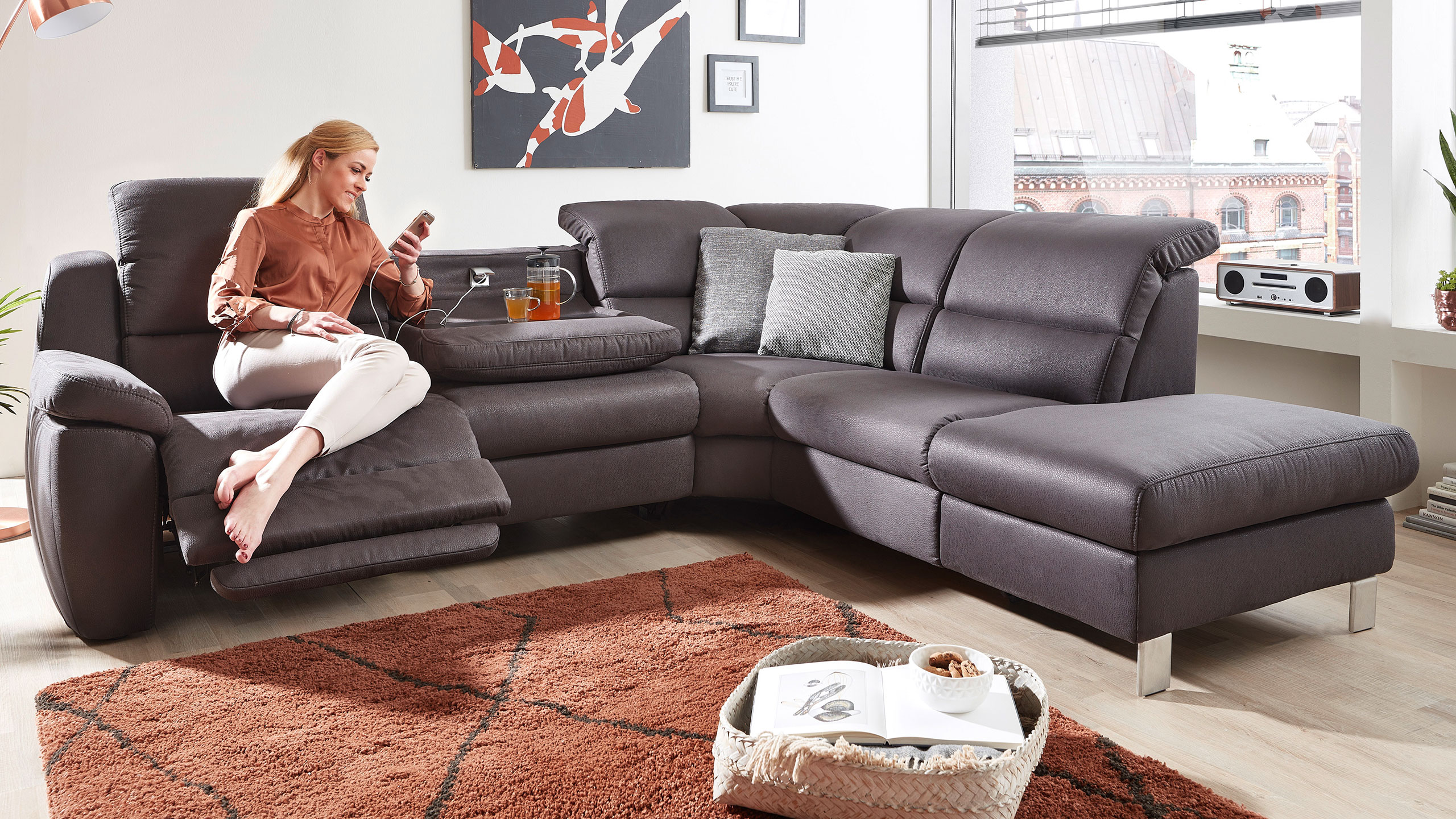 MultiMotion Ecksofa Stoff Grau