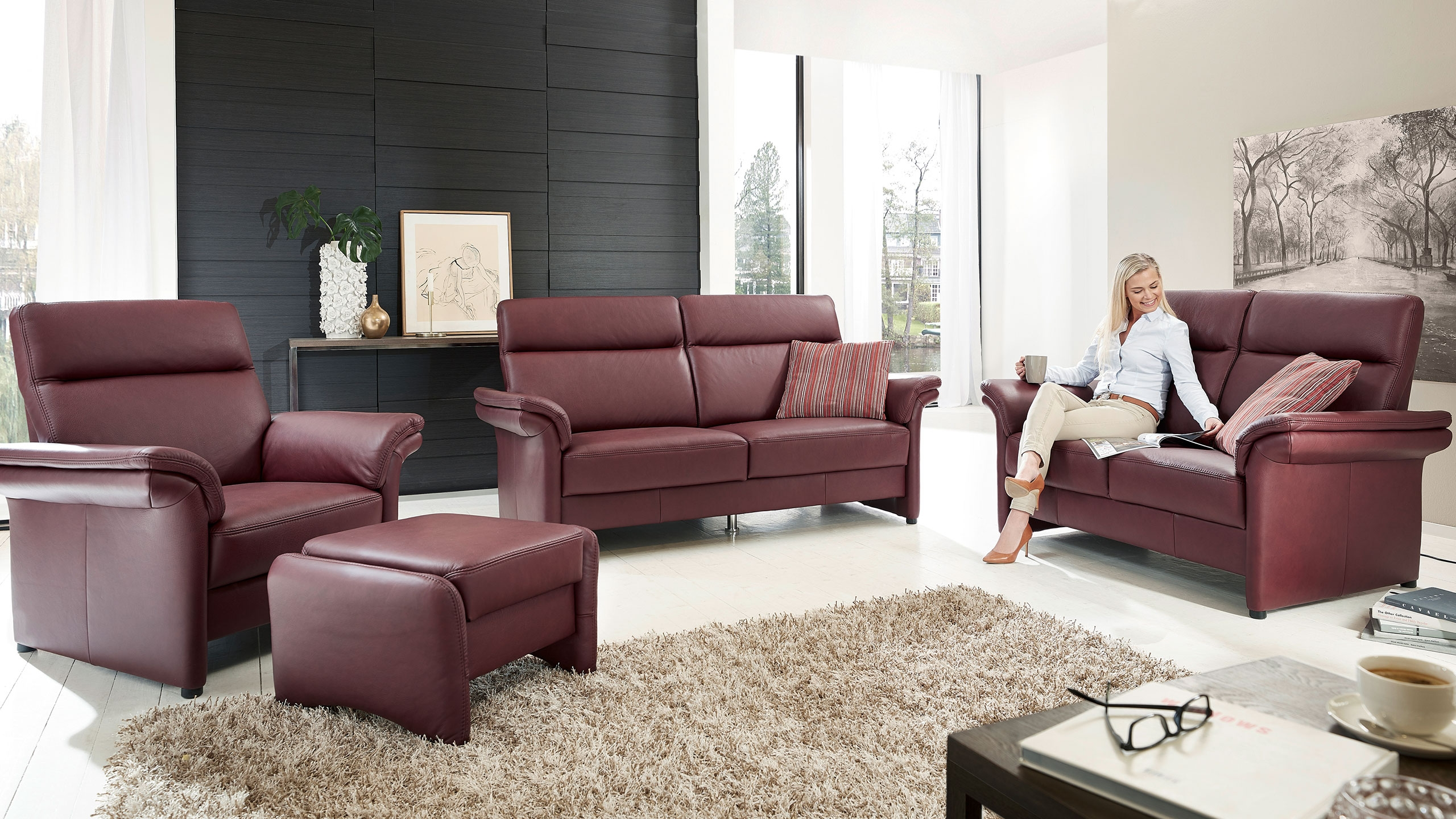 London Sofa Leder Rot